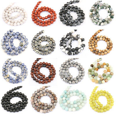 4MM 6MM 8MM 10MM 12MM Agate Stone Loose Spacer Beads Necklace Bracelet Accessory 2