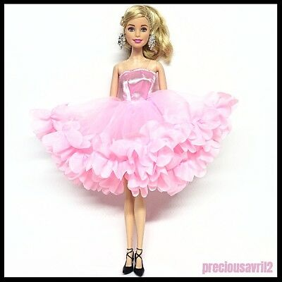 New Barbie doll clothes outfit princess wedding dress gown pink fluffy dress 2