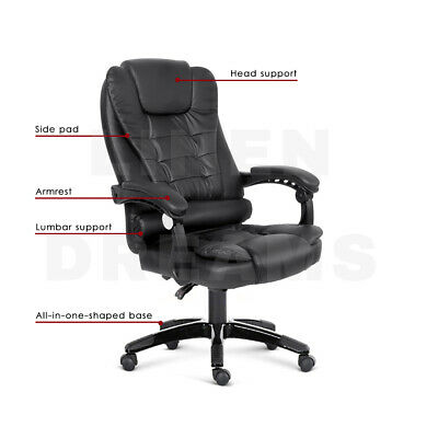 Executive Massage Office Chair Premium PU Leather Recliner Computer Gaming Seat 4