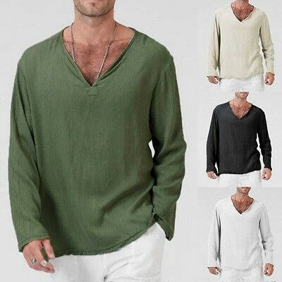 Pour Hommes Été Compatible avec T-Shirt Lin et Coton en Vrac Chemise Col V Plage 2