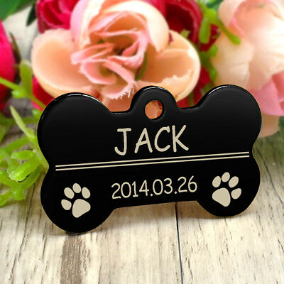 Glitter Paw Print Dog Tag Personalized Engraved Cat Pet ID Name Tag Bone Shape 12