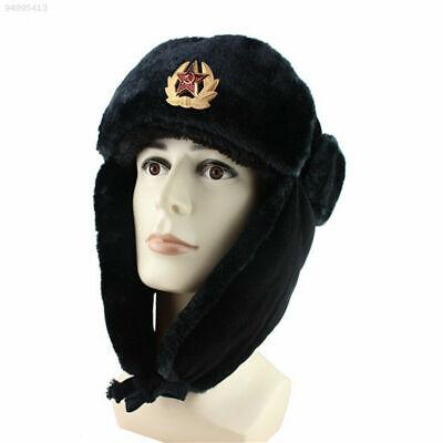 Russian Trapper Hat black With Soviet Badge Faux Fur Ushanka Cossack Flap Cap AU 3