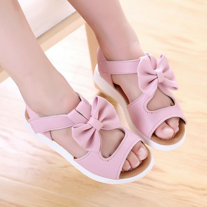 Summer Kids Girls Toddler Baby Sandals  Casual Bow knot Flat Princess Shoes 6