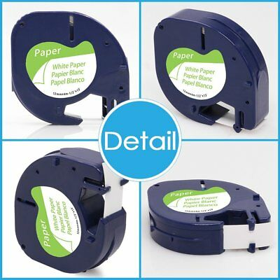 2PK LetraTag Compatibel for DYMO 91330 White Paper 12mm Label Tapes 91200 91220