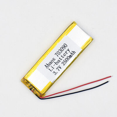 3.7V 2500mAh 703090 Li-Polymer Rechargeable Cell Li-ion LiPo Battery for GPS MP3 2