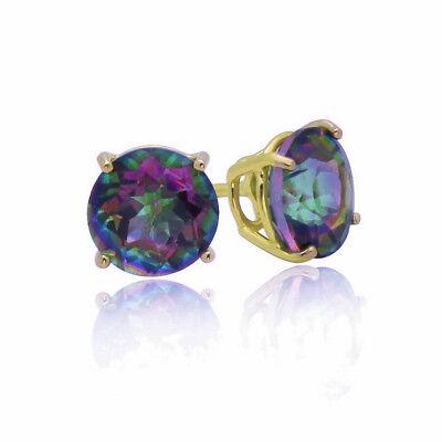 4ct CZ Stud Earrings Brilliant Cut Cubic Zirconia men women 10mm 14K gold plated 10