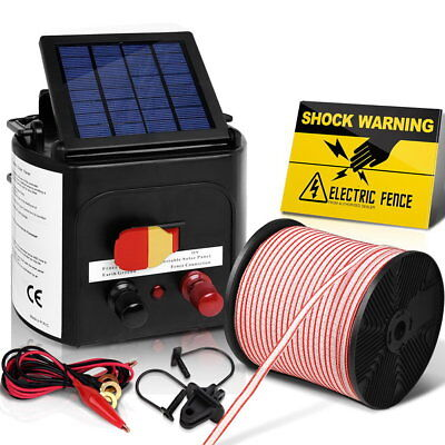 Giantz 5km Solar Electric Fence Energiser Energizer Charger 0.15J Farm Poly Tape 11