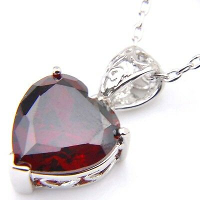 Genuine Natural Heart Fire Red Garnet Gemstone Platinum Plated Necklace Pendant 3