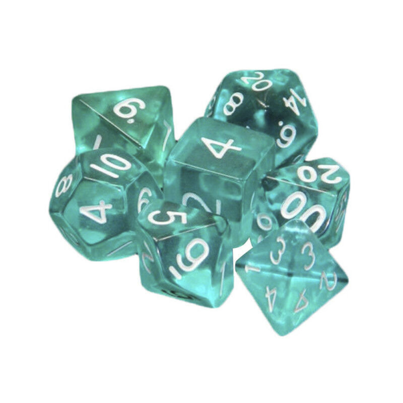 Lots 7 Piece Polyhedral Set Cloud Drop Translucent Teal RPG DnD With Dice Bag 5