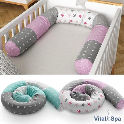 VitaliSpa Bettschlange Baby Nestchen anthrazit grau Nackenrolle Kissen 180 cm