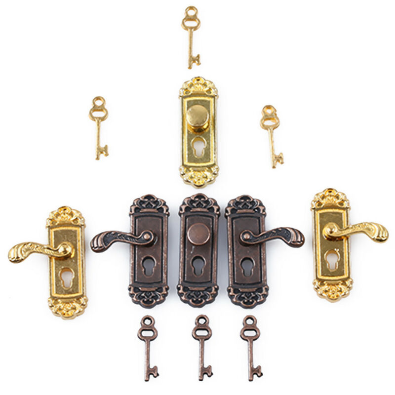 1 12 Vintage Dollhouse Miniature Door Lock And Key Doll House Diy Accessories