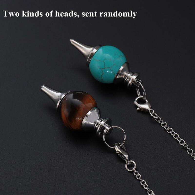 Balance Reiki Natural Stone Crystal Pendulum Circular Cone Charm Pendant~ 6
