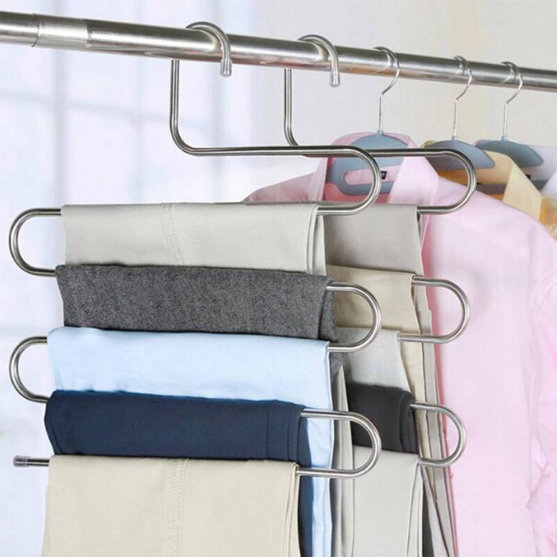 1-10pcs Pants Clothes Hangers Trousers S Type Layer Holder Scarf Tie Towel Rack 4