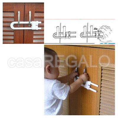 2X Baby Safety Lock Child Kids U-shaped Drawer Door Cabinet Cupboard Lock 2