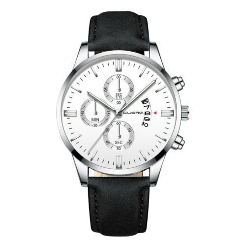Fashion Sport Men's Stainless Steel Case Leather Band Quartz Analog Wrist Watch 12