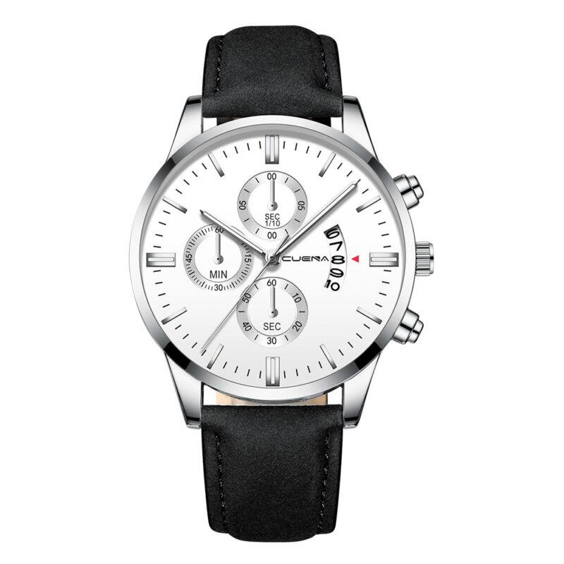 Fashion Sport Men's Stainless Steel Case Leather Band Quartz Analog Wrist Watch 5
