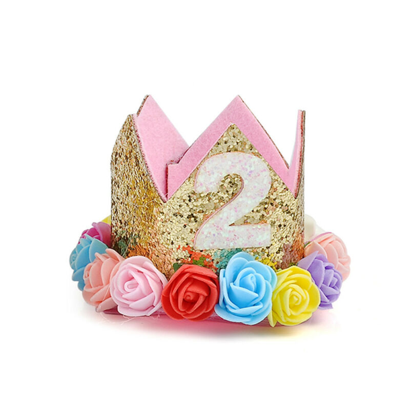 First Birthday Party Hat Decor Hair Accessory Baby Girl Flower Princess Crown 8