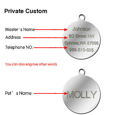 Round Stainless Steel Engraved Dog Tags Personalized Pet Cat ID tags Custom Free 4