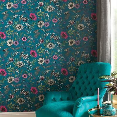Arthouse Country Garden Teal Wallpaper 259600 Metallic Floral Large Rose Poppy