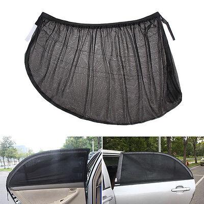 2x Car Rear Window UV Mesh Sun Shades Blind Kids Children Sunshade Blocker Black 4