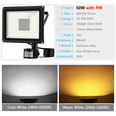 PIR 20W 30W 50W Outdoor Security LED Floodlight Outside Garden Wall Motion Light 8