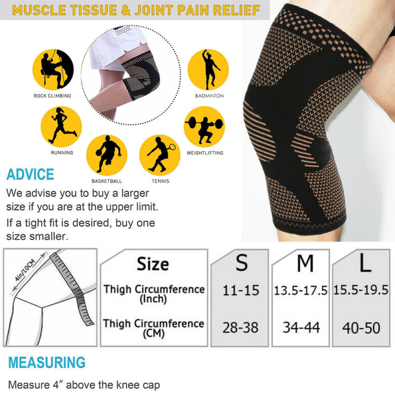 Knee Sleeves Compression Brace Support Sport Joint Injury Pain Arthritis Copper 2