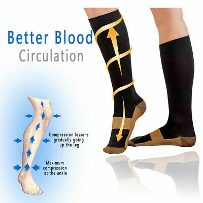 (5 Pairs) Copper Compression 20-30mmHg Graduated Support Socks Mens Womens S-XXL 5