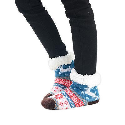 Boy's Girls Slipper Socks 1 Pair Fairisle Reindeer Multi Colours Size UK 9-12 4