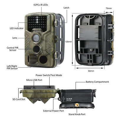 UK 16MP Hunting Trail Camera HD 1080P Wildlife Scouting Cam Night Vision IP65 6