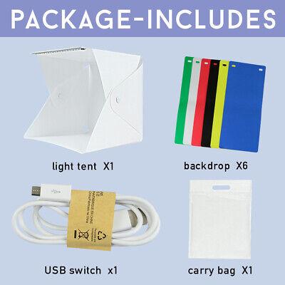 Photo Studio MINI LED Lighting Tent Kit Portable Folding Light Box 6pcs Backdrop 11