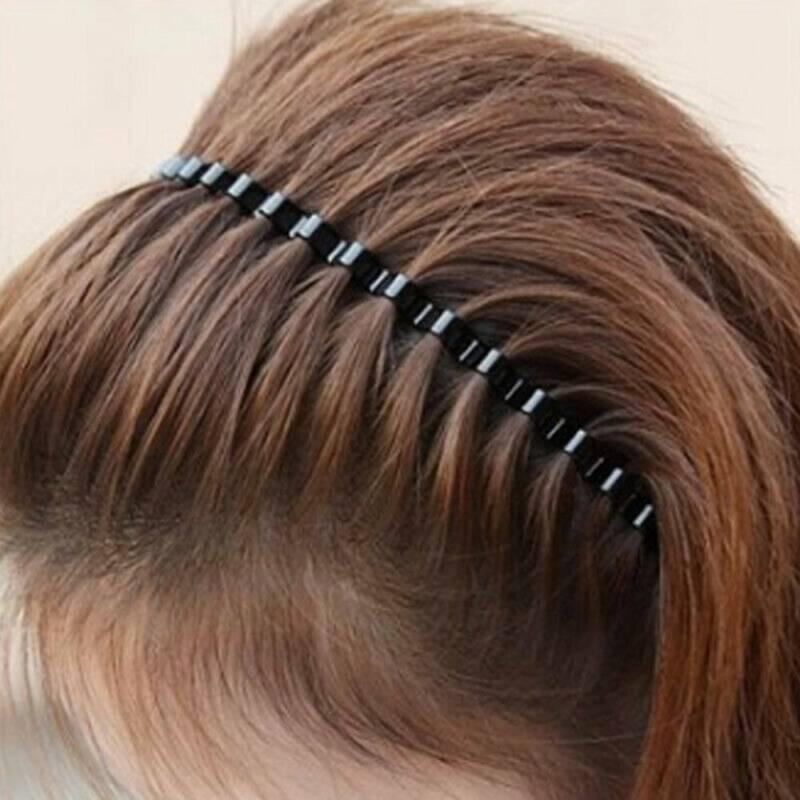 Unisex Men's Women Sports Wave Hair Band Metal Black Hairband Headband Headwear 10
