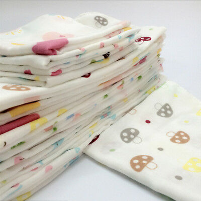 10Pcs Baby Newborn Gauze Muslin Square 100% Cotton Bath Wash Handkerchief Towels 3