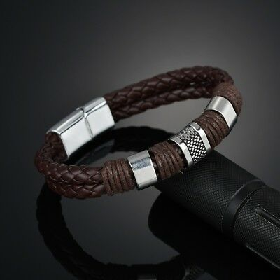 Men Women Leather Titanium Steel Magnetic Braided Clasp Bracelet Bangle Jewelry 4