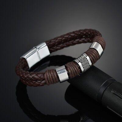 Men Women Leather Titanium Steel Magnetic Braided Clasp Bracelet Bangle Jewelry