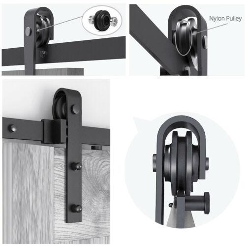 Sliding Barn Door Hardware Kit 6.6FT Modern Closet Hang Style Track Rail Black 10
