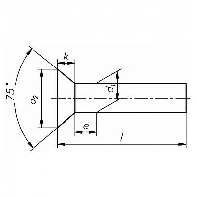 10x DIN 661 Senkniete 5x50 Stahl blank