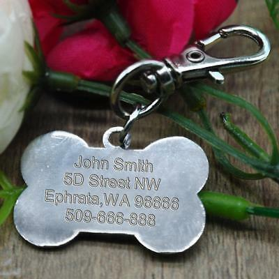 Bone Shape Engraved Dog Tags Pet Cat ID Tags Personalised Name Address for FREE 5