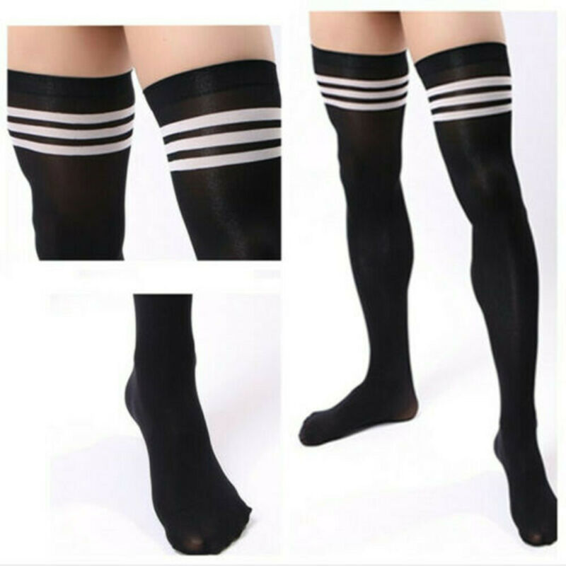 Men Soccer Thigh Stocks High Stockings Velvet Sport Striped Long Socks NEW HOT 2