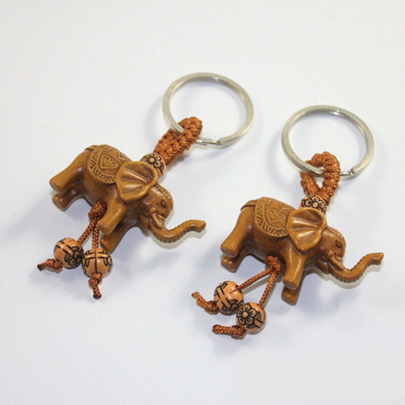 Lucky Elephant Carving Wooden Pendant Keychain Key Chain Ring Evil Defends Gift 12