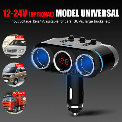 Dual USB LCD Car Charger Cigarette Lighter Double Power Adapter Socket Splitter 8
