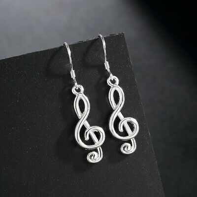 Fashion women elegant 925 Silver Musical notes Earring Jewelry wedding charms 3
