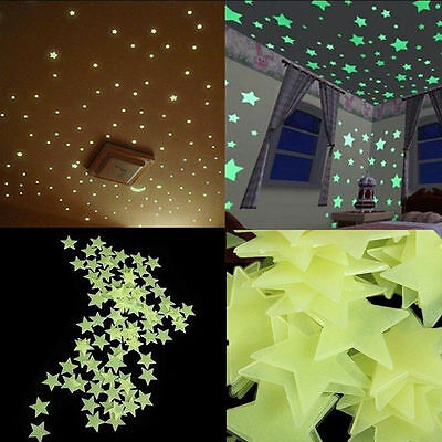 100X Luminous Big Stars Fluorescent Stickers 3D Glow In The Dark Wall Stick H~ 2