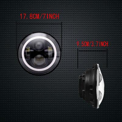"Pair 7"" INCH LED Headlights Halo Angle Eye For Jeep Wrangler TJ CJ JK LJ 97-18 3"