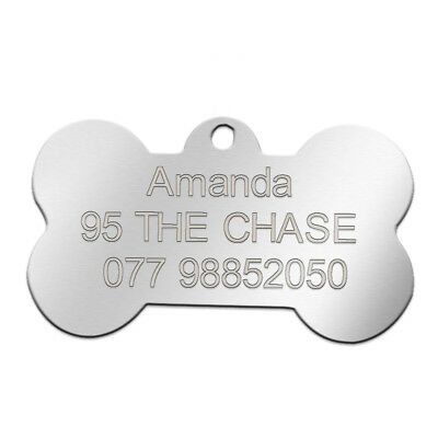 Stainless Steel Personalized Dog Tags Bone Round Military ID Name Tags Sliver 11