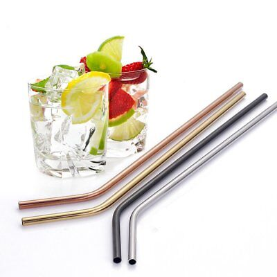 4 Pcs Stainless Steel Metal Drinking Straw Reusable Straws + Cleaner Brush Kit 7