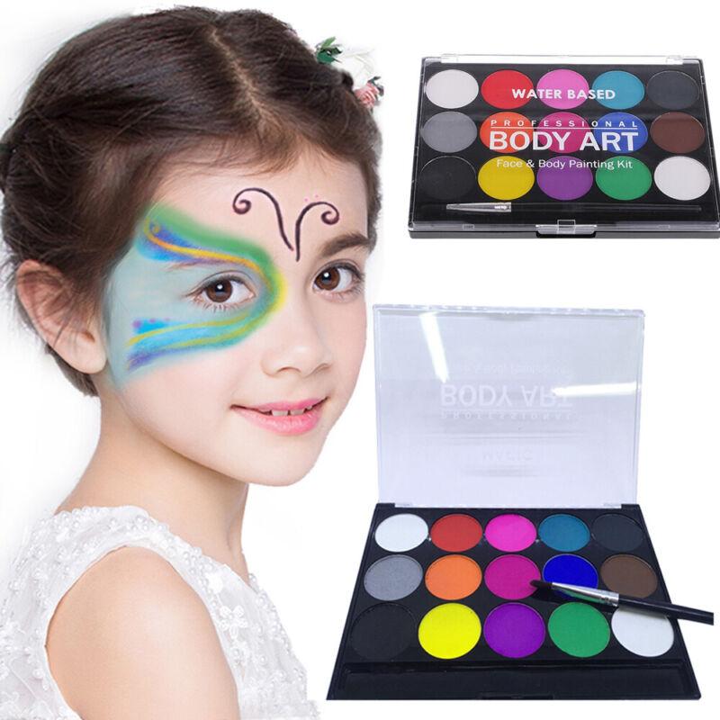 Face & Body Paint Set 15 Colours Palettes Pallete Face Painting Art Make Up Kit 3