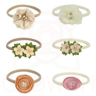 Handmade Newborn Baby Girls Flower Headband Infant Toddler Knot Hair Band Sets 5