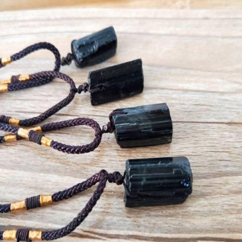 Men Black Tourmaline Stone Natural Crystal Gem Specimen Pendant Necklace JT 3