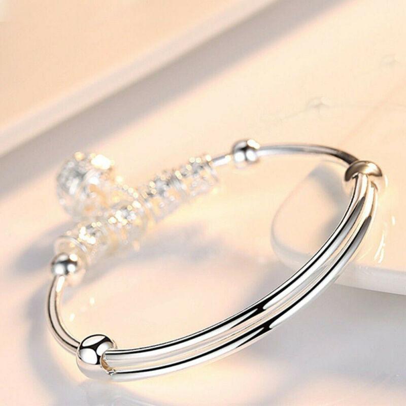 Fashion Women Jewelry 925 Sterling Silver Plated Cuff Bracelet Charm Bangle Gift 7