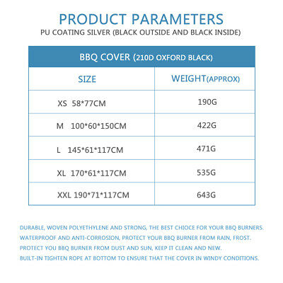 XS-XXL BBQ Cover Heavy Duty Waterproof Medium Barbecue Grill Outdoor Protector 10
